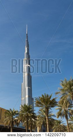 Burj K. tallest building in the world on DECEMBER 31 2015 in Dubai UAE. Dubai cityscape.Dubai Downtown skyline.