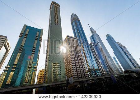 Burj Khalifa tallest building in the world on DECEMBER 31 2015 in Dubai UAE. Dubai cityscape.Dubai Downtown skyline.