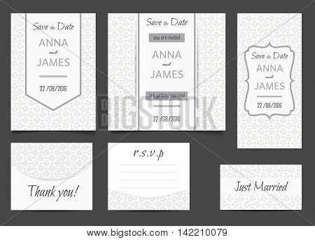 Beautiful wedding set of printed materials with a abstractl design. Wedding invitation card save the date cards R.S.V.P. and thank you card