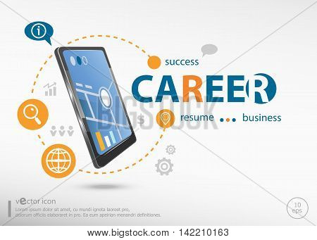 Career Concept And Realistic Smartphone Black Color.