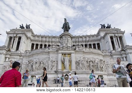ROME ITALY - AUGUST 5 2016: people visiting the Victor Emmanuel monument The Vittoriano in Venezia square