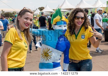 Brasilia, Brazil-August 10, 2016: Brazilian and Honduran Soccer Fans Gather Outside the Mané Garrincha Stadium