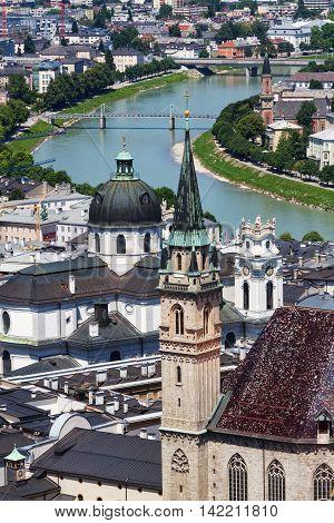 Franciscan Church of Salzburg sight from Hohensalzburg Castle. Austria.