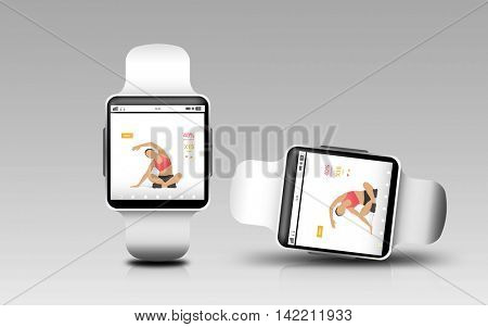 modern technology, sport, object, responsive design and media concept - smart watches with fitness app on screen over gray background