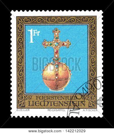 LIECHTENSTEIN - CIRCA 1975 : Cancelled postage stamp printed by Liechtenstein, that shows treasure.