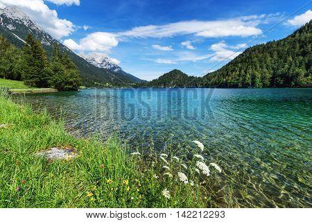 Idyllic view of mountain lake. Hintersteiner Lake Tyrol Austria.