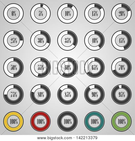 Progress circles with increments in gray design. Vector illustration