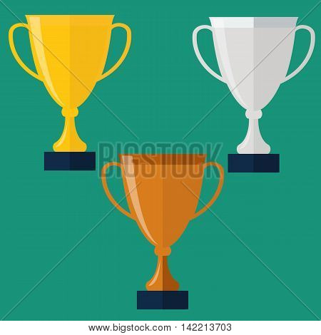 Trophy Cup Flat Icon. Golden, silver and bronze trophy cup.
