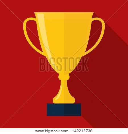 Trophy cup flat icon. Trophy cup on red background.