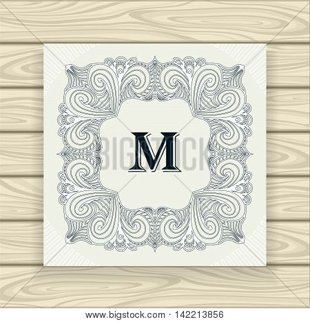 Decorative ornamental frame in vintage style black on white or Template  of monogram advertising cosmetic perfumer  clothes or for decorate other things