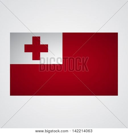 Tonga flag on a gray background. Vector illustration