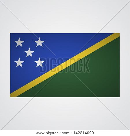 Solomon Islands flag on a gray background. Vector illustration