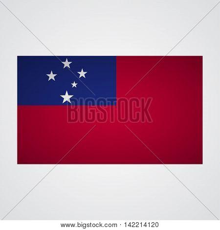Samoa flag on a gray background. Vector illustration