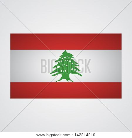 Lebanon flag on a gray background. Vector illustration
