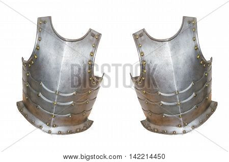 An antique European knight armor isolated against white background.