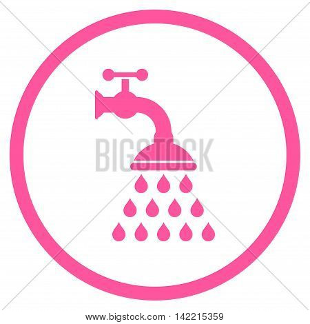 Shower Tap vector icon. Style is flat rounded iconic symbol, shower tap icon is drawn with pink color on a white background.