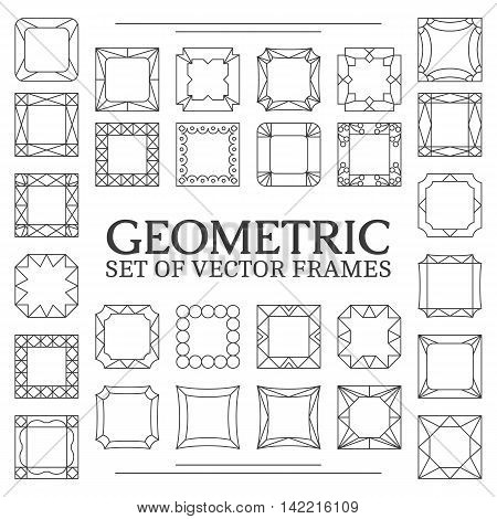 Vector template frame. Form of square. Line design elements. Collage collection geometric black shapes.