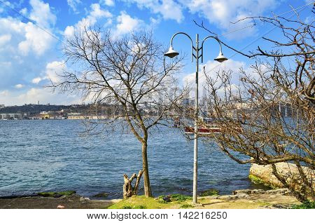 Istanbul Turkey. View of the European side of Istanbul from the Bosphorus. Cloudy skies and Istanbul views