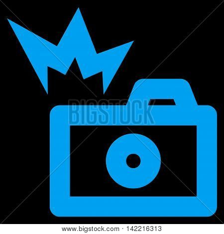 Camera Flash vector icon. Style is linear flat icon symbol, blue color, black background.