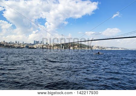 View of the European side of Istanbul from the Bosphorus. The Bosphorus Bridge (Turkish: Bogazici Koprusu) also called the First Bosphorus Bridge is one of two suspension bridges spanning the Bosphorus strait