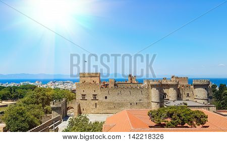 top view of restored building and the main castle of Rhodes