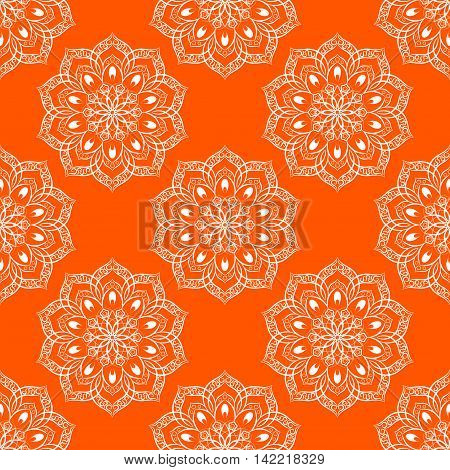Vector Seamless Mandala Pattern over orange background. Seamless pattern for your wrapped projects. Pattern in swatches panel.