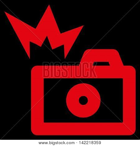 Camera Flash vector icon. Style is outline flat icon symbol, red color, black background.
