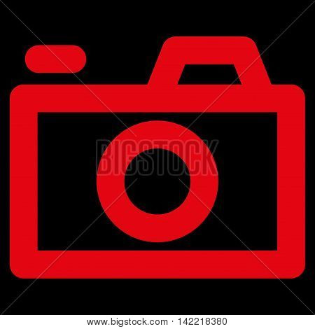 Camera vector icon. Style is linear flat icon symbol, red color, black background.