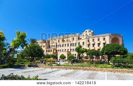 GREECE, RHODES - 05 JUNE 2016 : Rhodes casino hotel building sunny summer
