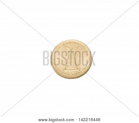 Jubilee Modern Russian Coins Isolated On The White Background