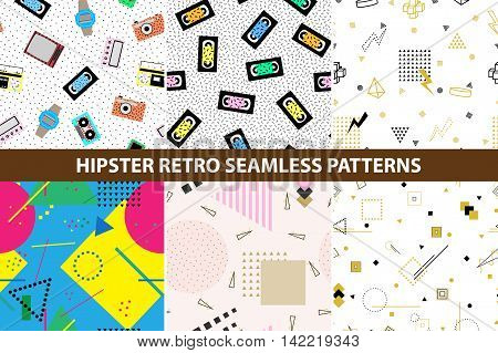 Collection of hipster retro memphis patterns. Seamless backgrounds with geometric shapes and also with retro electronics. Retro memphis style, fashion 80-90s.
