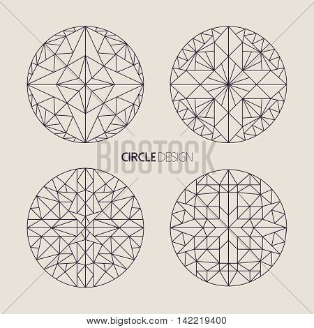 Circle Symbol Set In Line Art Geometry Style