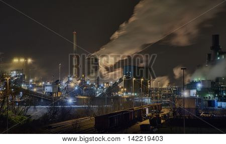 Steel plant at Night in Duisburg Germany