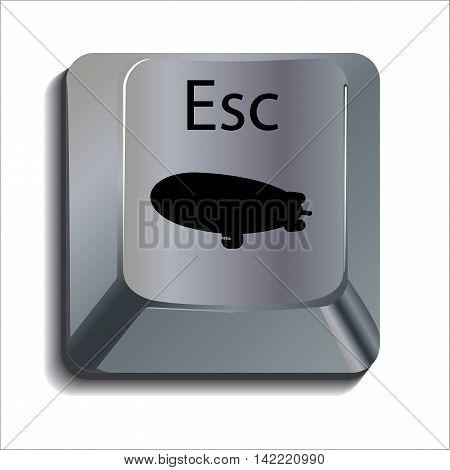 Blimp on Computer Escape Key Concept Icon
