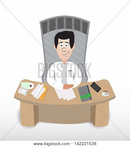cartoon business man sit on his bench behind work desk
