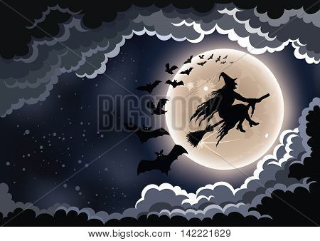 Wicked witch flying by the moon Halloween background.