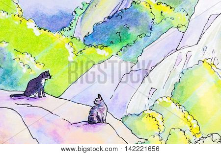 Original watercolor painting of two cats sitting on a rock in a woodland garden.