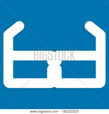 Spectacles vector icon. Style is stroke flat icon symbol, white color, blue background.