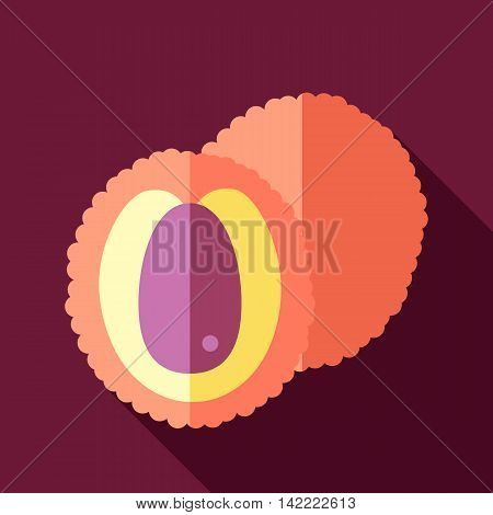 Lychee flat icon. Tropical fruit. Vector illustration eps 10