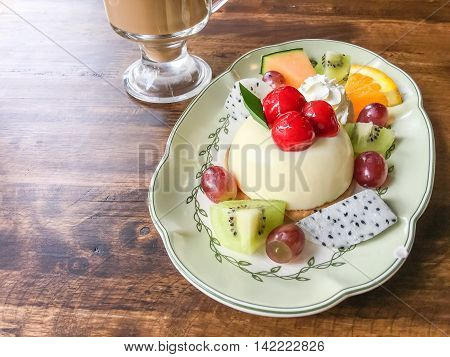 Fruit Cheesecake And Coffee