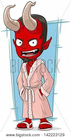 A vector illustration of cartoon red devil in pink bathrobe