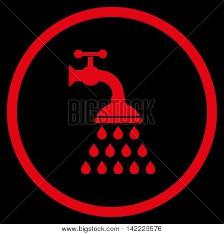 Shower Tap vector icon. Style is flat rounded iconic symbol, shower tap icon is drawn with red color on a black background.