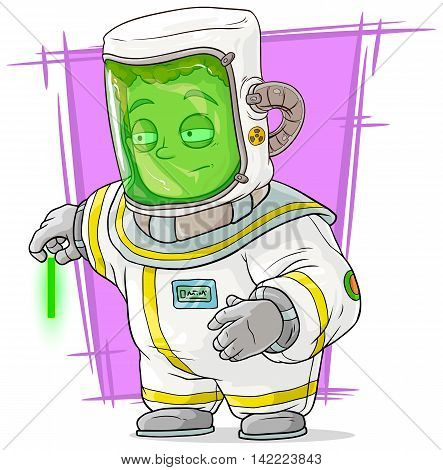 A vector illustration of cartoon scientist in protective suit with uranium