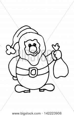 Cute Santa Claus With Sack, Black And White