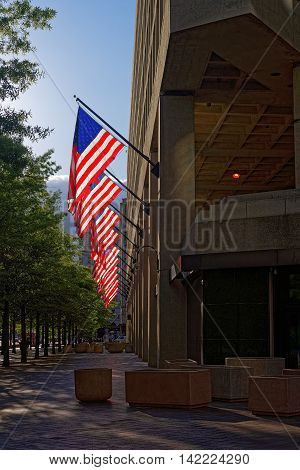 Entrance Of J Edgar Hoover Building In Washington Dc