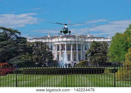 Flying Helicopter In Front Of The White House