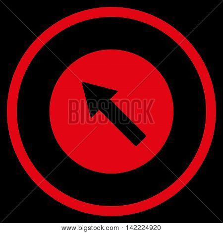 Up-Left Rounded Arrow vector icon. Style is flat rounded iconic symbol, up-left rounded arrow icon is drawn with red color on a black background.