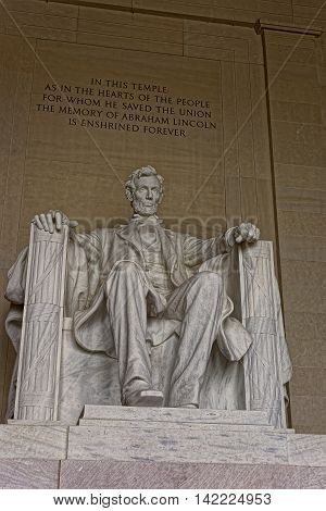 Monument Of Abraham Lincoln In Washington Dc Usa