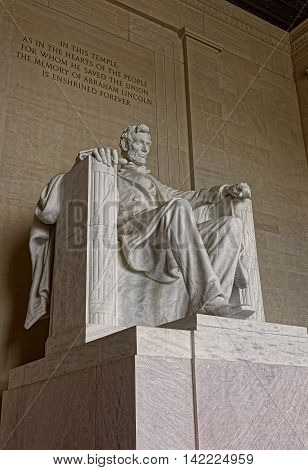 Monument Of Abraham Lincoln In Washington Dc United States