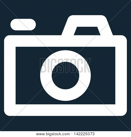 Camera vector icon. Style is stroke flat icon symbol, white color, dark blue background.